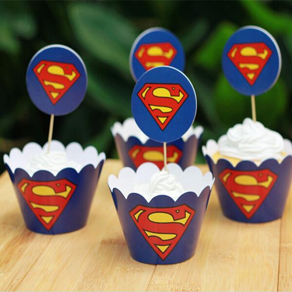 Creative Superman Paper Cupcake Wrappers Decorating Boxes Baking Cake Cups With Toppers Picks For Kids Xmas Birthday Party Supplies