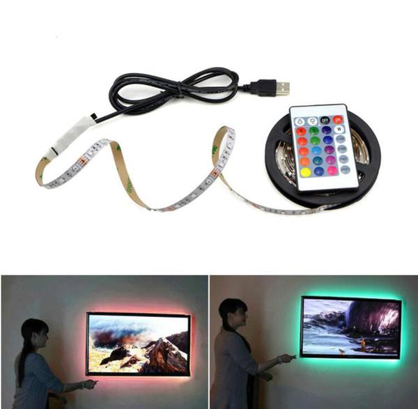 USB Powered 5 V RGB LED Şerit işık 60 leds / m 3528 SMD Uzaktan Kumanda Ile TV Arka Plan Aydınlatma Için Su Geçirmez Bant