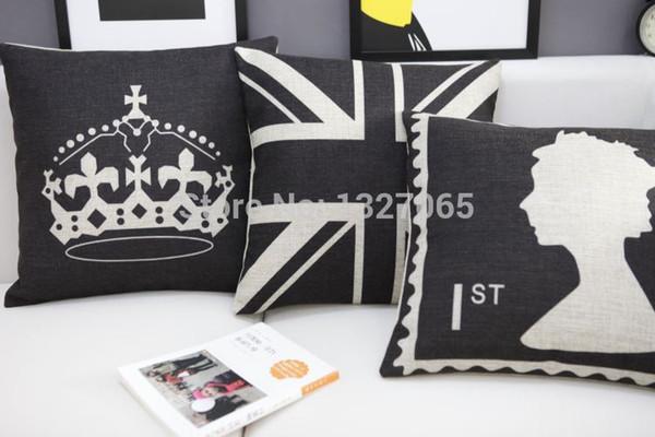 Drapeau du Royaume-Uni noir / tampon du Royaume-Uni / taie d'oreiller à jet de couronne impériale 18