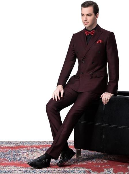 Side Vent Double-Breasted Burgundy Groom Tuxedos Peak Lapel Groomsmen Mens Wedding Suits Clothing Prom Suits (Jacket+Pants+Tie)