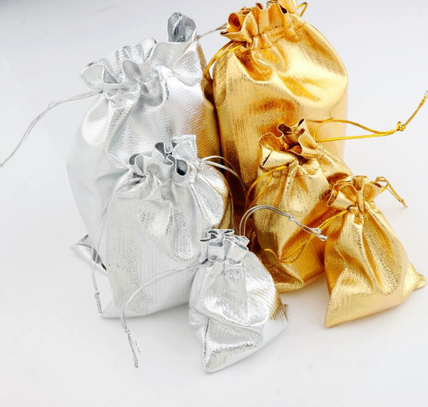 top popular Gauze Satin Jewelry Bags Jewelry 100pcs lot Silver Gold Plated Christmas Gift Pouches Bag 7X9cm 9x12cm 13x18cm 2020