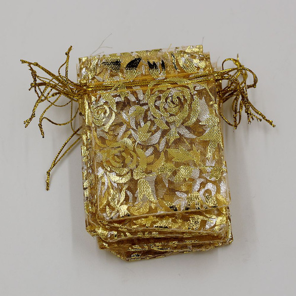 Hot ! 100Pcs Jewelry Packing Gold Roses Organza Pouch Wedding Favor Gift Bags 7x9cm /9x12cm / 13x18cm
