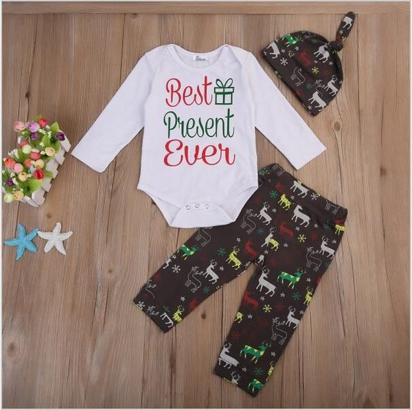 Newborn infant baby boy girl toddler deer romper+pants+hat three-piece outfits best presnt ever cotton kid clothing 0-24M