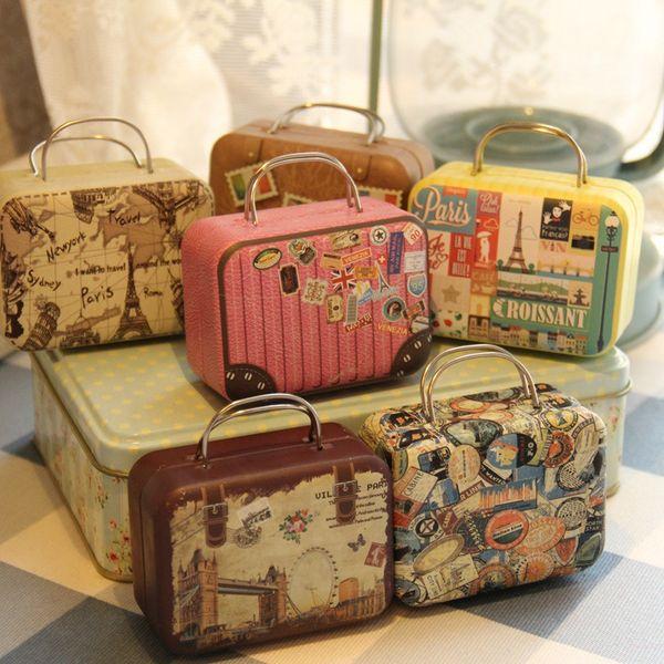 New Retro Style Small Suitcase Storage Tin Box Bag Jewelry Decorative Change Candy Chocolate Boxes Mini Gift Box