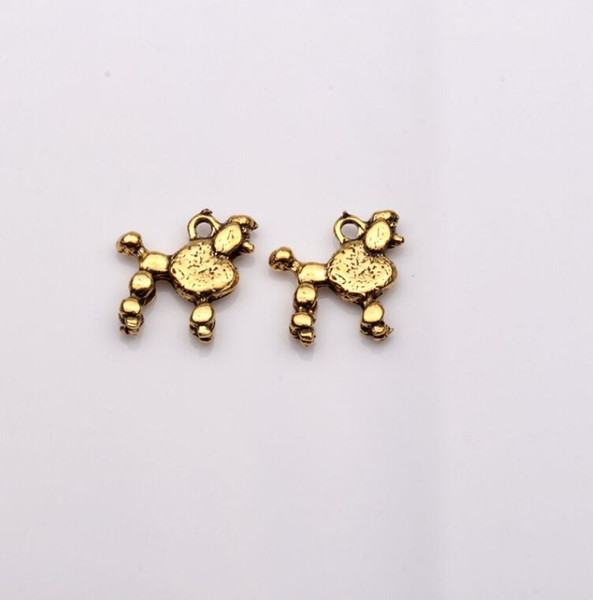 Hot ! 300pcs Antique Gold Double-sided design Dog Charms pendants DIY Jewelry 15 x14mm (369)