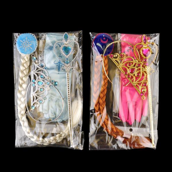 Prinzessin Crown Zauberstab Handschuhe Perücke Halloween Cosplay Kinder Kinder Eis Mädchen Cosplay Schmuck Sets 2 Farben