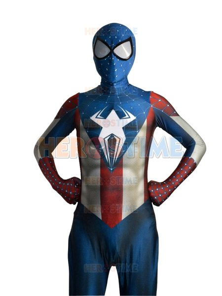 2015 New Captain America costume Spider-Man Hybrid Superhero Costume Fullbody halloween cosplay spiderman Suit hot sale free shipping
