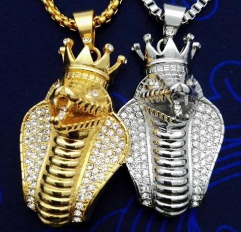"""Mens Hip Hop Necklace 14K Gold Plated Crown Cobra Stainless Steel Pendant Chain 24"""""""