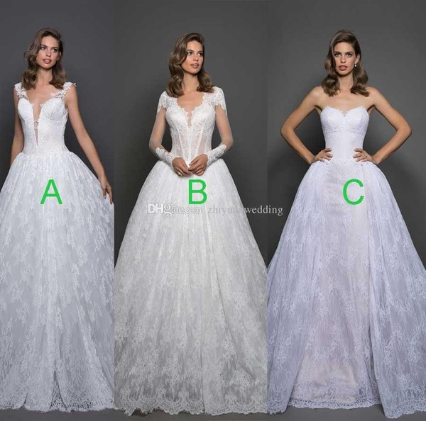 Full Lace Ball Gown Wedding Dresses 2018 Pnina Bridal Backless ...