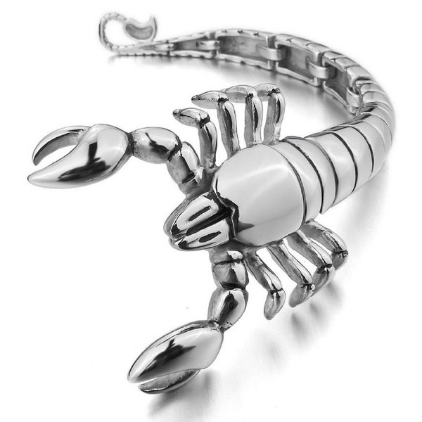 New fashion Men's Large Heavy Stainless Steel Bracelet Link Wrist Silver Scorpion Biker Polished