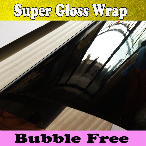 High Glossy Black Vinyl Wrap Car Wrap mit Luftblase Shiny Black Vinyl Super Gloss Film Verpackung Klavier schwarz Glossy Wrap Größe 1.52x30m / Roll