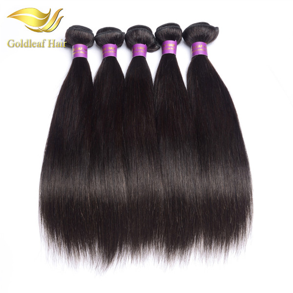 Top quality Goldleaf 1pc Malaysian human straight weft Brazialin hair Peruvian hair Indian Mongolian virgin remy hair
