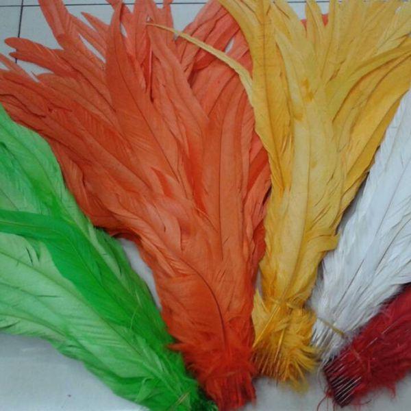 Rooster Feather Tail Feather Rooster Hackle Feather Strung 35-40cm Plumas de pollo Teñido Badger Saddle pelo extensión