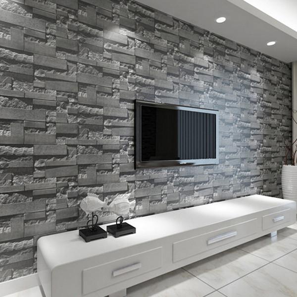 Acheter Moderne Stacked Brique 3d Pierre Papier Peint Rouleau Gris Brique  Mur Fond Pour Salon Pvc Vinyle Mur Papier Stéréoscopique De $33.17 Du ...