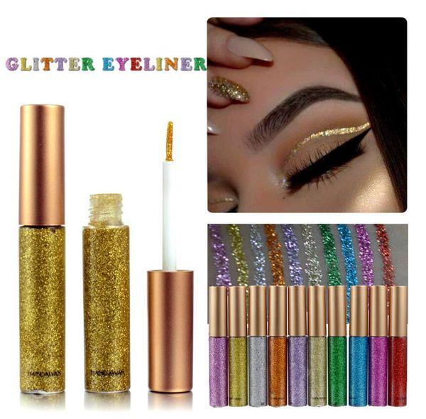 top popular Glitter Liquid Eyeliner Portable Shining Makeup Liquid Eye Liner Pencil Long-lasting Quick Dry Beauty Cosmetic Shiny Eyeliner 2021