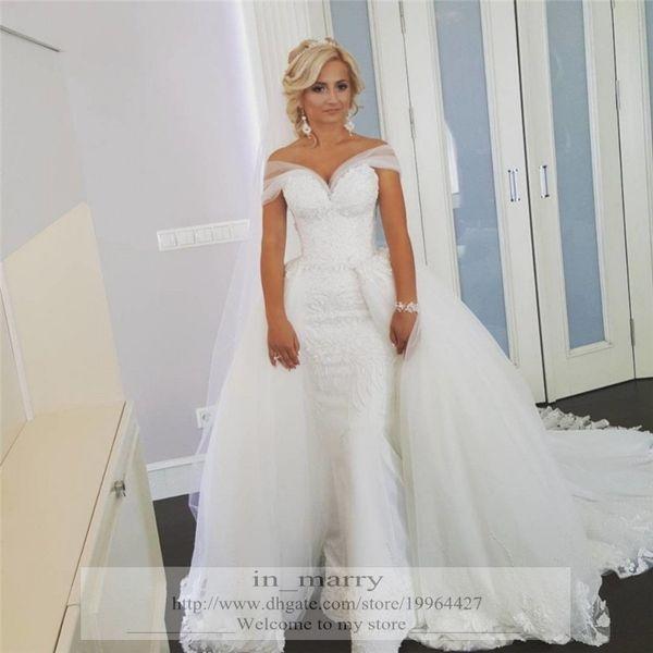 2016 Full Lace Mermaid Wedding Dresses Peplum Long Tulle Skirt Plus ...