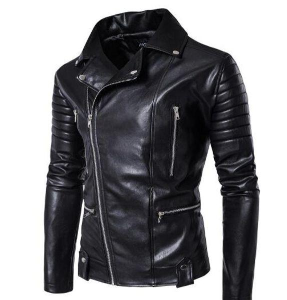 5XL Jacke Herbst Leder Motorrad Männer Multi Pockets Design Männer Motor Outwear Jacke Schlank Hohe Qualität Männlichen Bomberjacke T170616