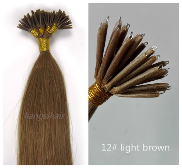 "Straight Style Brazilian Indian Peruvian Malaysian Nano-tip Remy Human Hair Extensions 20""-24"" 100g 100s 1g/s 12# Light Brown"