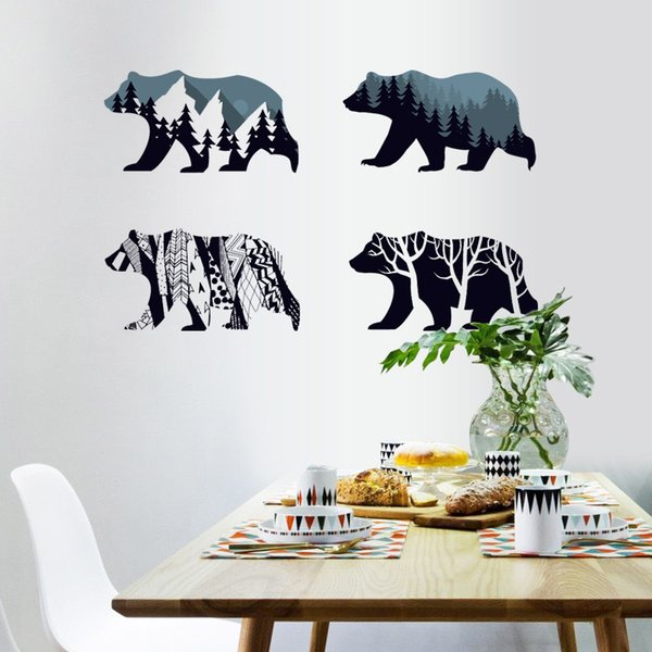 4 Polar bear Silhouette Wall Stickers Home Decoration Living Room Children bedroom kids Rooms Vinyl Furniture Decals