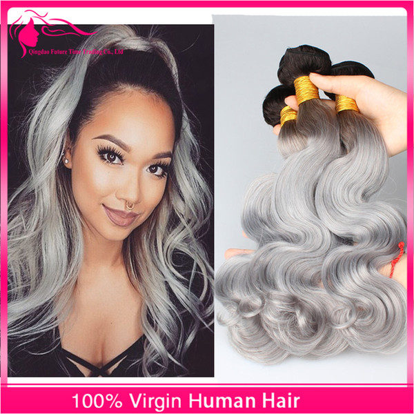 New Arrivalling #1B/Grey 9A Brazilian Virgin Human Hair Body Wave Silver Grey Two Tone Ombre Hair Extensions 3 pcs/lot