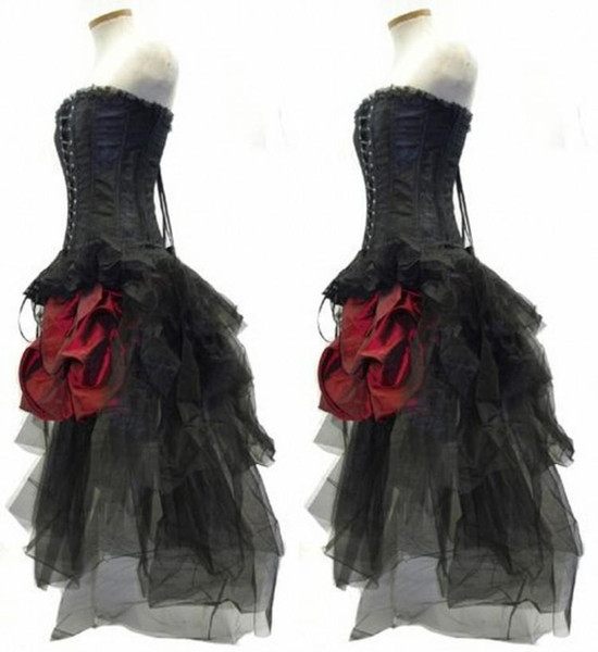 Red And Black Flower Gothic Corset High Low Prom Dresses 2017 Steampunk Outfit Strapless Hi Lo Bustle Party Gowns