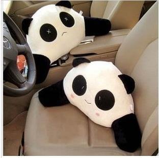 Dibujos animados de peluche panda soporte lumbar coche soporte de la cintura cojín soporte de la almohada almohada coche soporte lumbar torneo