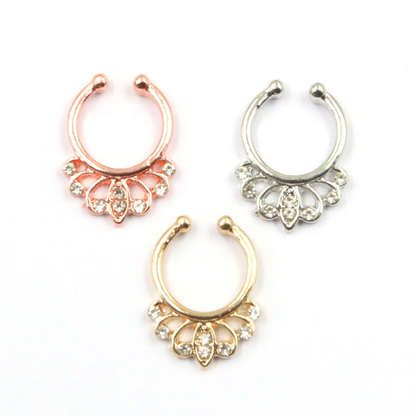 10pcs indian crystal faux piercing nez alloy gold and silver on clip hoop fake septum ring nose for women body jewelry N0057