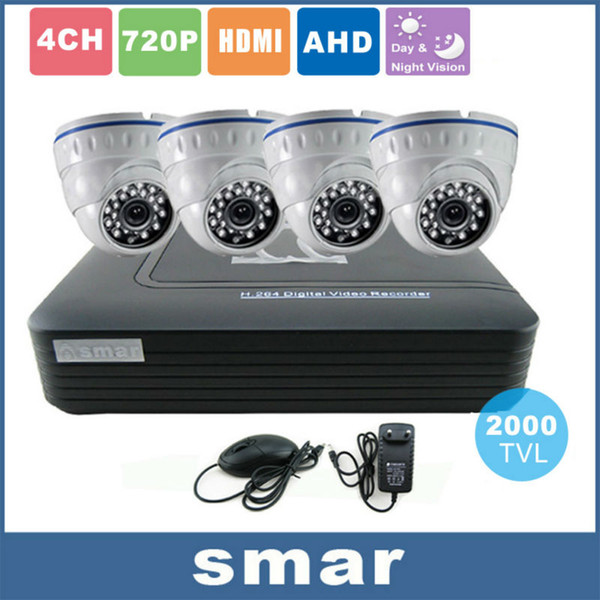 CCTV 4 Channel AHD AHD-M DVR P2P HDMI H. 264 Hybrid DVR Video Surveillance System 720P AHD Dome Camera Kit Day & Night IR-CUT