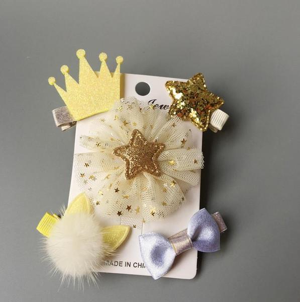 New 5pcs kids girl handmade hair Accessories flower Bowknot Hairpin children star Cartoon crown hair clips Barrette headwear