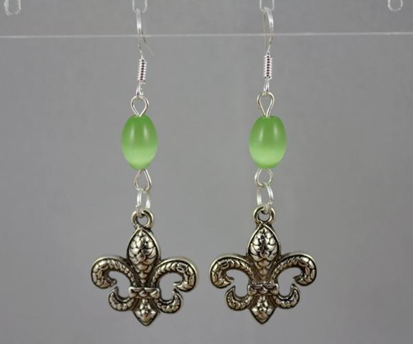 925 Sterling Silver Earrings Vintage Silver Lily Fleur De Lis&Opal Beads Charms Dangle Chandelier Earrings For Women Jewelry Gift