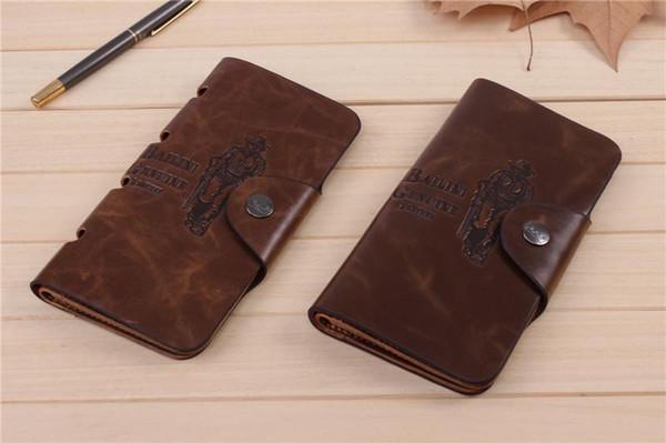 Frizione di cuoio della borsa della tasca tascabile degli uomini del cowboy del raccoglitore lungo brandnew della borsa del bifold