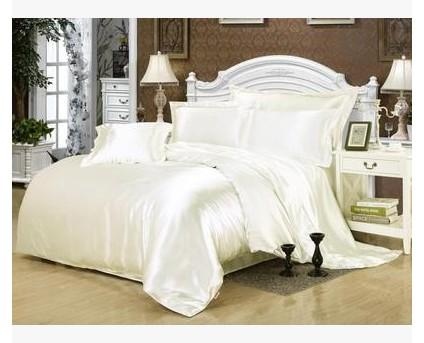 Cream white silk bedding set satin california king size queen full twin quilt duvet cover fitted bed sheet double bedspread 5pcs
