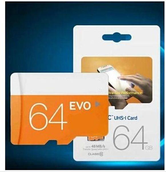 64 GB Sınıf 10 EVO UHS-1 Transflash TF Hafıza Kartı Samsung Smartphone Cep Telefonları Için 64 GB Kamera Mp4 oyuncular