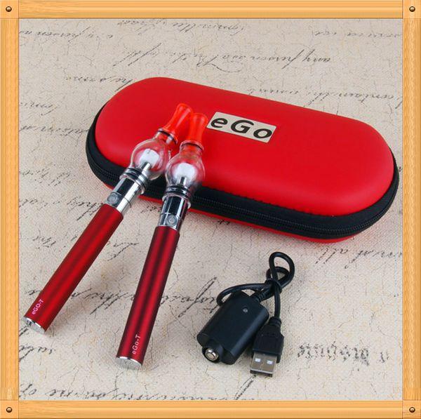EGO-T Verre Globe Double E Cigarette Starter Kit Ego-T 650mAh 900mAh 1100 mah Batterie avec Atomiseur de Cire Vaporisateur Globe Réservoir Vaporisateur Pen