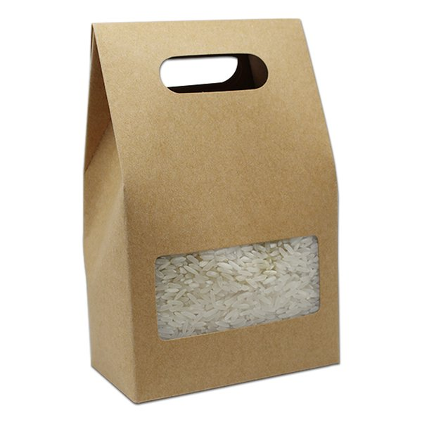 10.5*15+6cm Kraft Paper Tote Box Clear Square Window Gift Wedding Favor Candy Chocolate Storage Box Packaging Bag With Handle