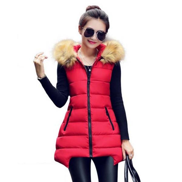Wholesale-1PC 2015 Kış Uzun Yelek Kadın Colete Feminino Faux Kürk Kapşonlu Pamuk Yastıklı Giyim Veste Femme AA0021