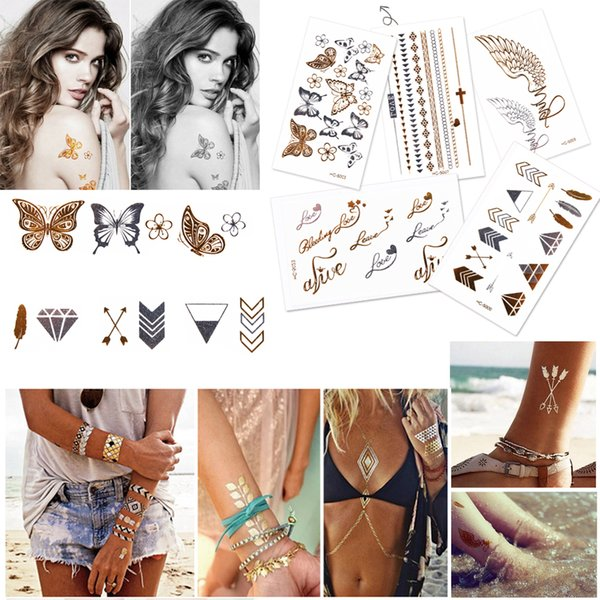 10 Sheets Body Art Painting Tattoo Stickers Glitter Metal Gold Silver Temporary Flash Waterproof Golden Crown Lotus Love Tattoos
