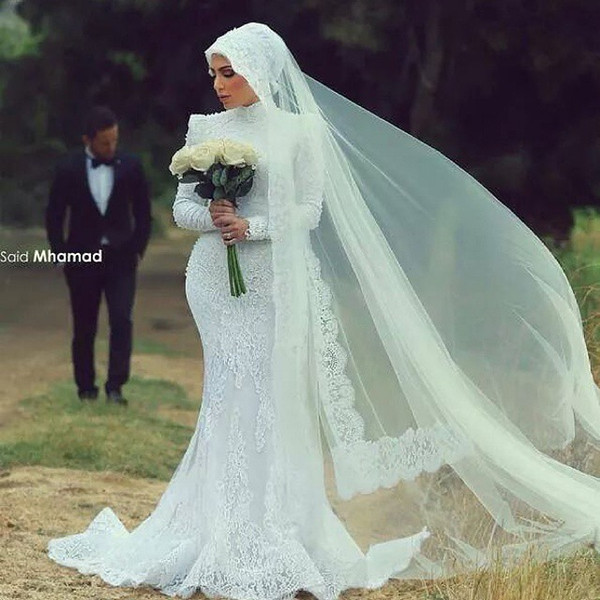 2015 Arabic Spring Mermaid Muslim Wedding Dresses White Floral Lace ...