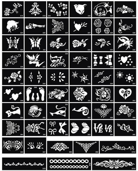 Wholesale-200pcs / lot Glitter Tattoo Stencil para aerógrafo temporal pequeños diseños de pintura del cuerpo del tatuaje envío gratis