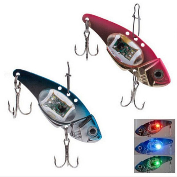 Underwater Sinking Flashing LED Light Fishing Bait Fishing Lure with Steel Hook Light Flashing Lamp Tackle Hooks OOA3581