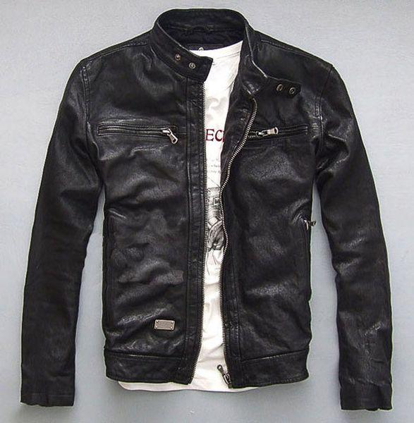 Fall-Factory Men's Genuine Leather Jacket For Men Real Matte Goat Skin Sheepskin Fashion  Black Motorcycle Biker Male Coat ZH031