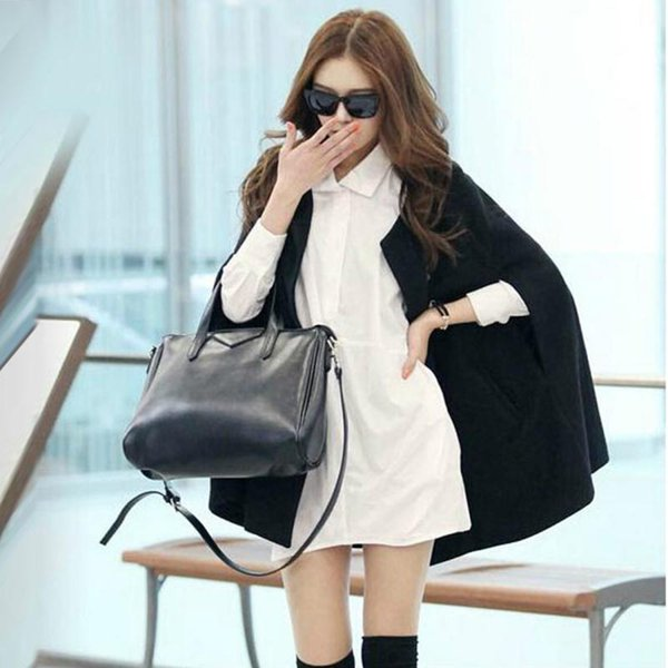 2016 Spring Fashion Women Winter Jacket Casual Black Batwing Wool Warm Cloak Poncho Capes Coat for Lady Casaco Peacoats
