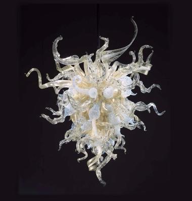 Lassen Sie Form Blume Kronleuchter Licht LED-Stil Klar Bernstein Farbe Mini Günstige Hotel Dekor Mundgeblasenem Glas Kronleuchter Beleuchtung