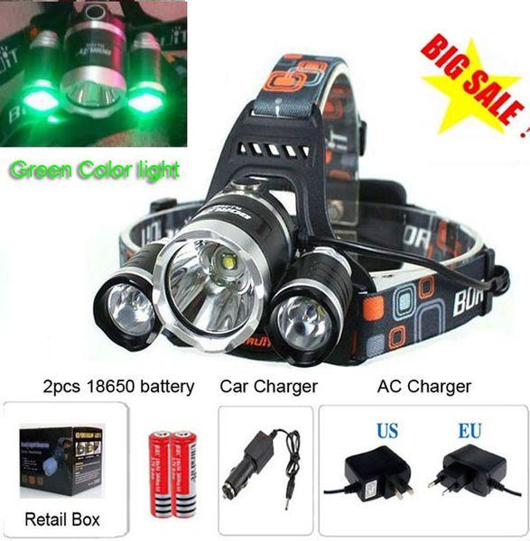 Luz de color verde 3 * T6 5000LM CREE XM-L T6 LED Lámpara de bicicleta de cabeza de faro Luz de exterior + 2 * 18650 Batería + Cargador + Cargador para auto