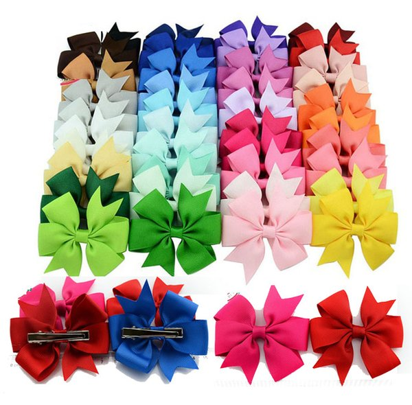 top popular Fashion 3 inch Baby Girl Grosgrain Ribbon Hair Bows Children Hair Accessories Baby Hairbows Girl Hair Bows With Clip 40 color 2019