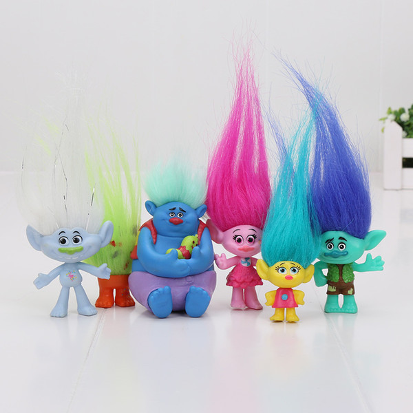 6pcs / set 2-6cm trolls film figure collection de poupées branche biggie PVC trolls figurines poupée jouet