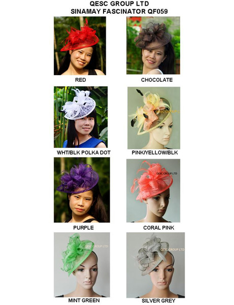 top popular Fashion design HOT Sinamay Bridal Fascinator with Feather for Kentuicky Derby church wedding part,ladies hat . 2019