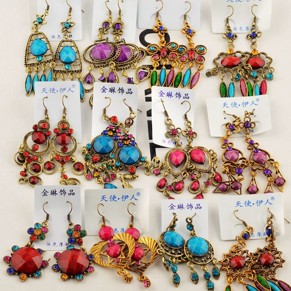 Zufällige Mischung 10 Art 10Pairs / lot Retro- Weinlese-Bronze-Harzkristall Edelstein-Ohrringe, die hängende hängende Ohrringe hängen