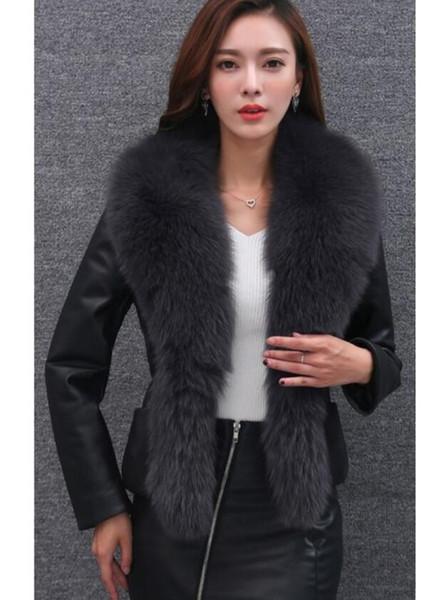 Acheter Noble Élégant Hiver Veste Femmes Vêtements Plus Coton FImitation Fourrure De Renard Col Manteau De Fourrure 2017 Nouveau FImitation