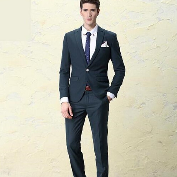 Men of high quality fashion 2017 men's suit jacket + pants + vest (male) and TV host wedding dress dark green summer Slim Fit bone